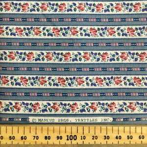 Dusky Blue & Pink Floral Stripe Cotton 1.65m