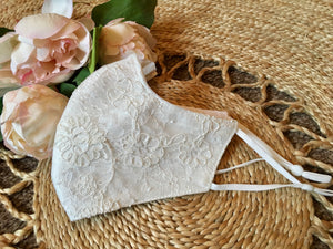 Ivory Bridal Lace Face Mask