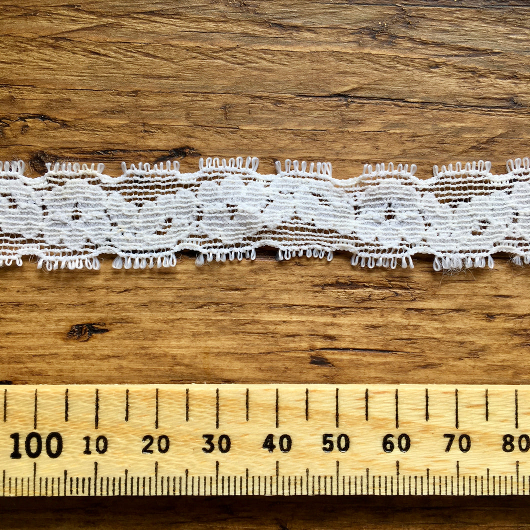 Narrow Elasticated Ivory Lace Trim