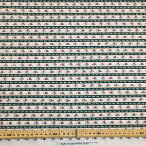 Green Floral Stripe Cotton Fabric 2.6m