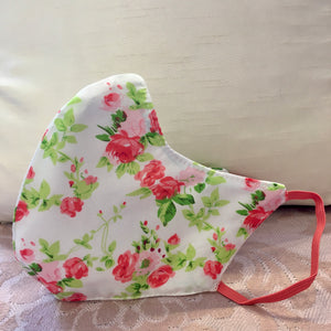Vintage Pink Floral Cotton Face Mask