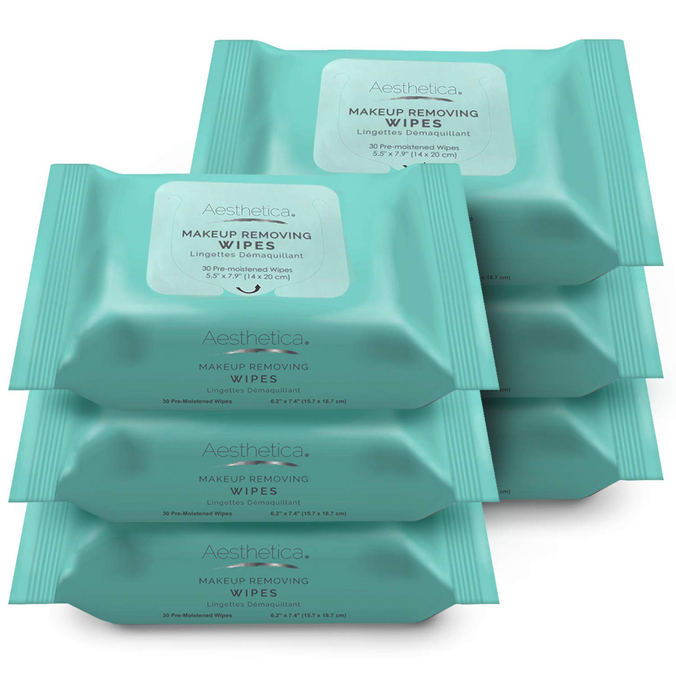 Aesthetica Makeup Removing Wipes - Facial & Eye Makeup Remover Wipes - 6 Pack Bulk (180 Wipes Total) Hypoallergenic & Dermatologist Tested - Oil & Fragrance Free - Made in USA