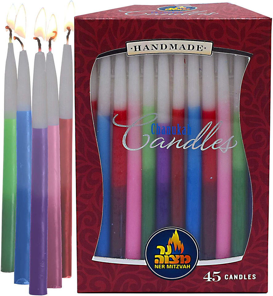 Tricolor Dripless Handmade Chanukah Candles - Standard Size Fits Most Menorahs - Premium Quality Wax - Assorted Colors - 45 Count for All 8 Nights of Hanukkah - by Ner Mitzvah