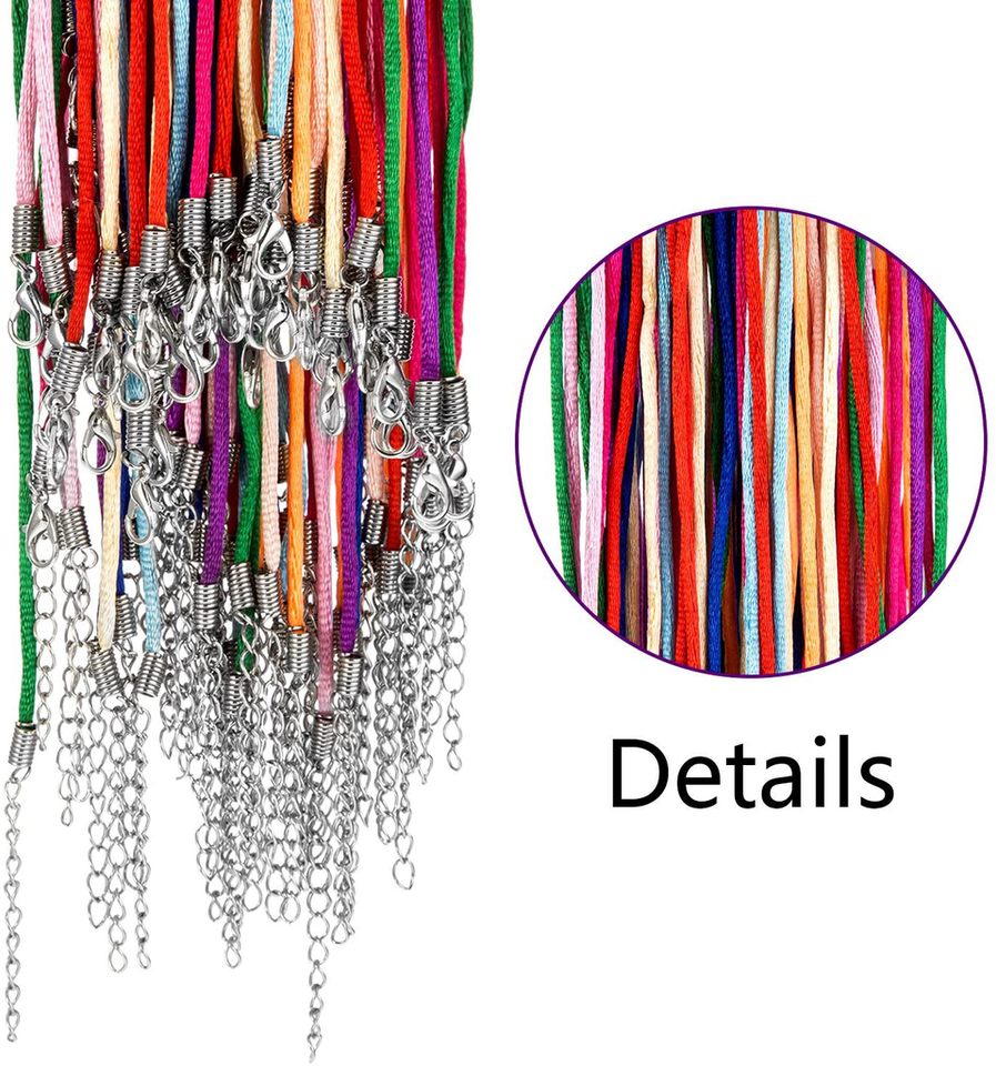Outus 60 Pieces 2.0 mm Satin Silk Necklace Cord 20 Inches with 2 Inches Extension Chain and Lobster Clasp, Multicolor