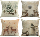 Youngnet Set of 4 Christmas Deer Animal Print Throw Pillow Cover Winter Home Decor Cushion Cover 18 x 18