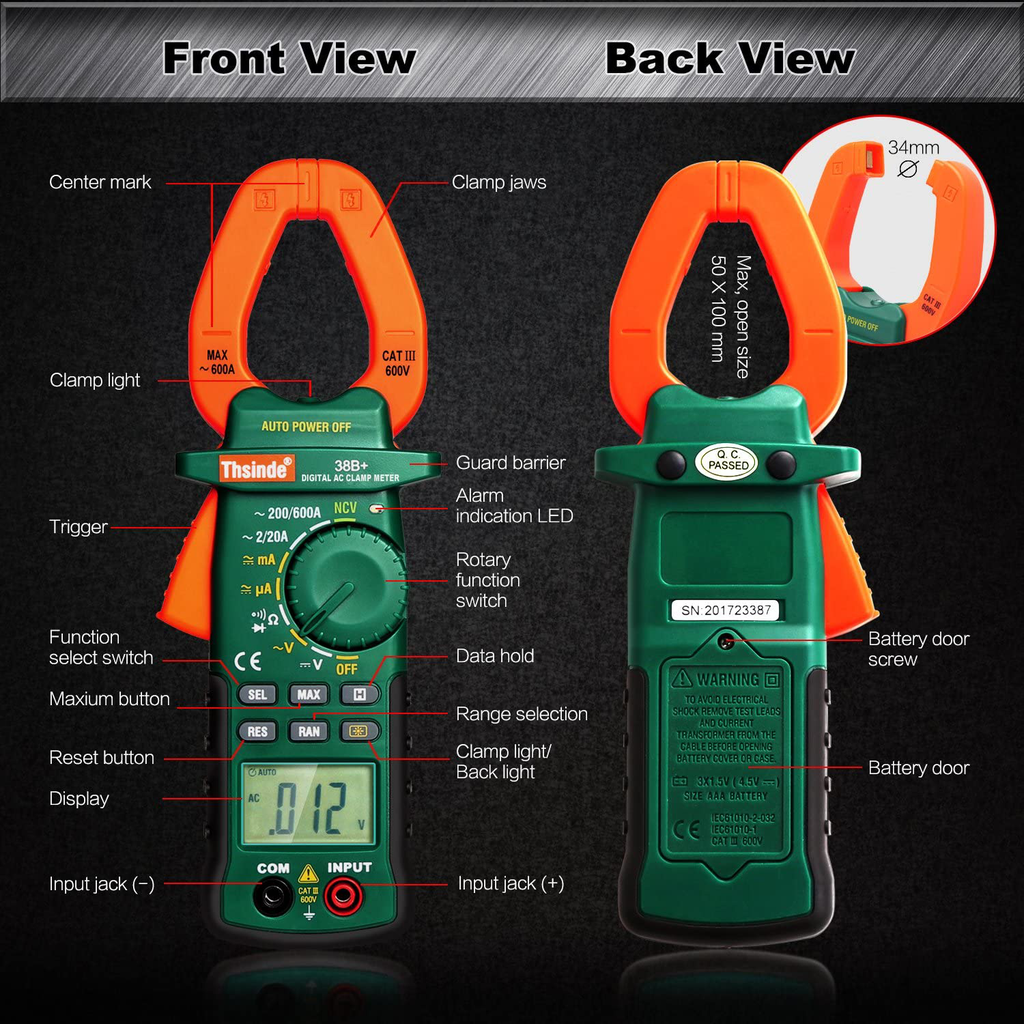 Accuracy Clamp Multimeters With Storage Bag NCV Led Light for AC/DC Current Home