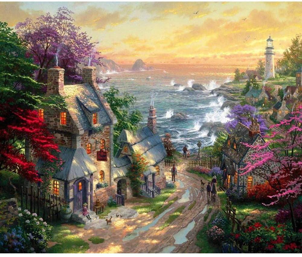"Lapoea DIY Oil Painting Paint by Number Kits Painting for Adults and Kids Arts Craft for Home Wall Decor Seaside town16"" x 20"""