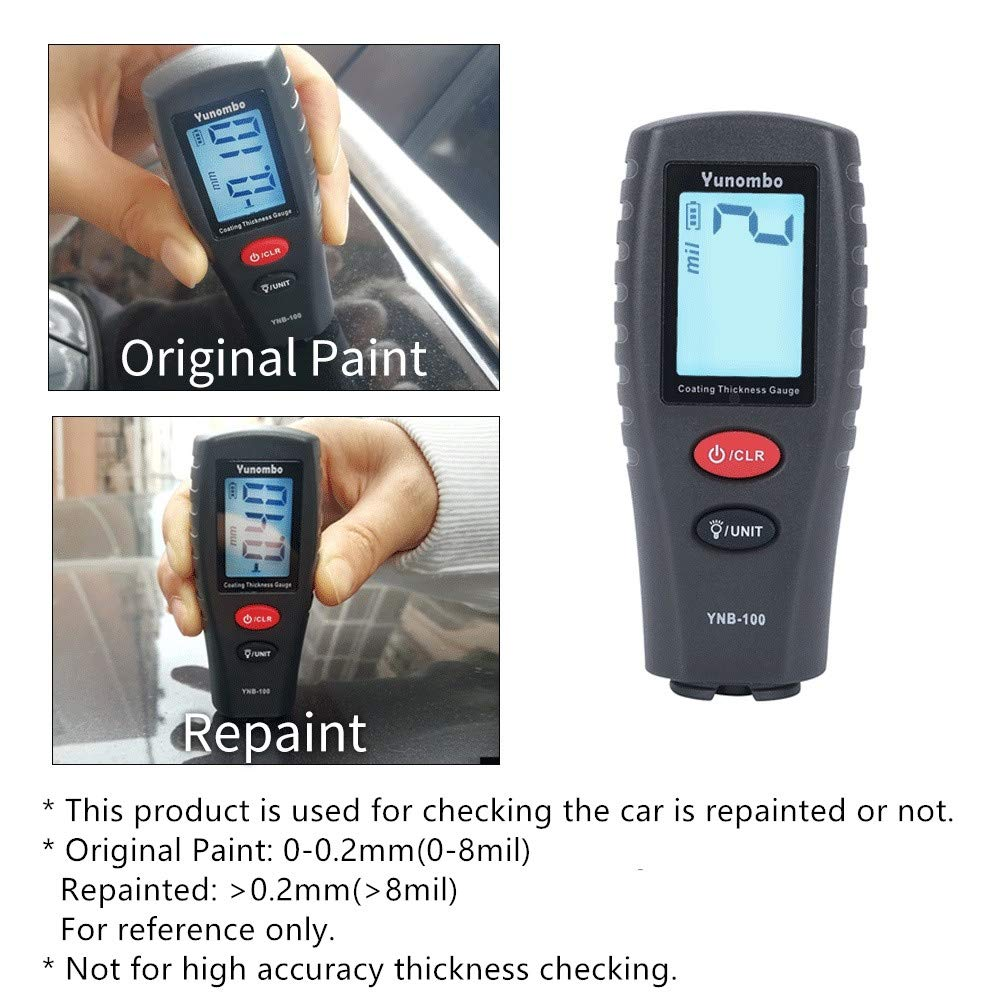 Paint Thickness Gauge | Best Digital Meter for Automotive Coating Thickness Tester | High Contrast Backlight LCD | Resolution 2mils | Auto Power Off | Auto Digital Calibration Data Hold Mini Size