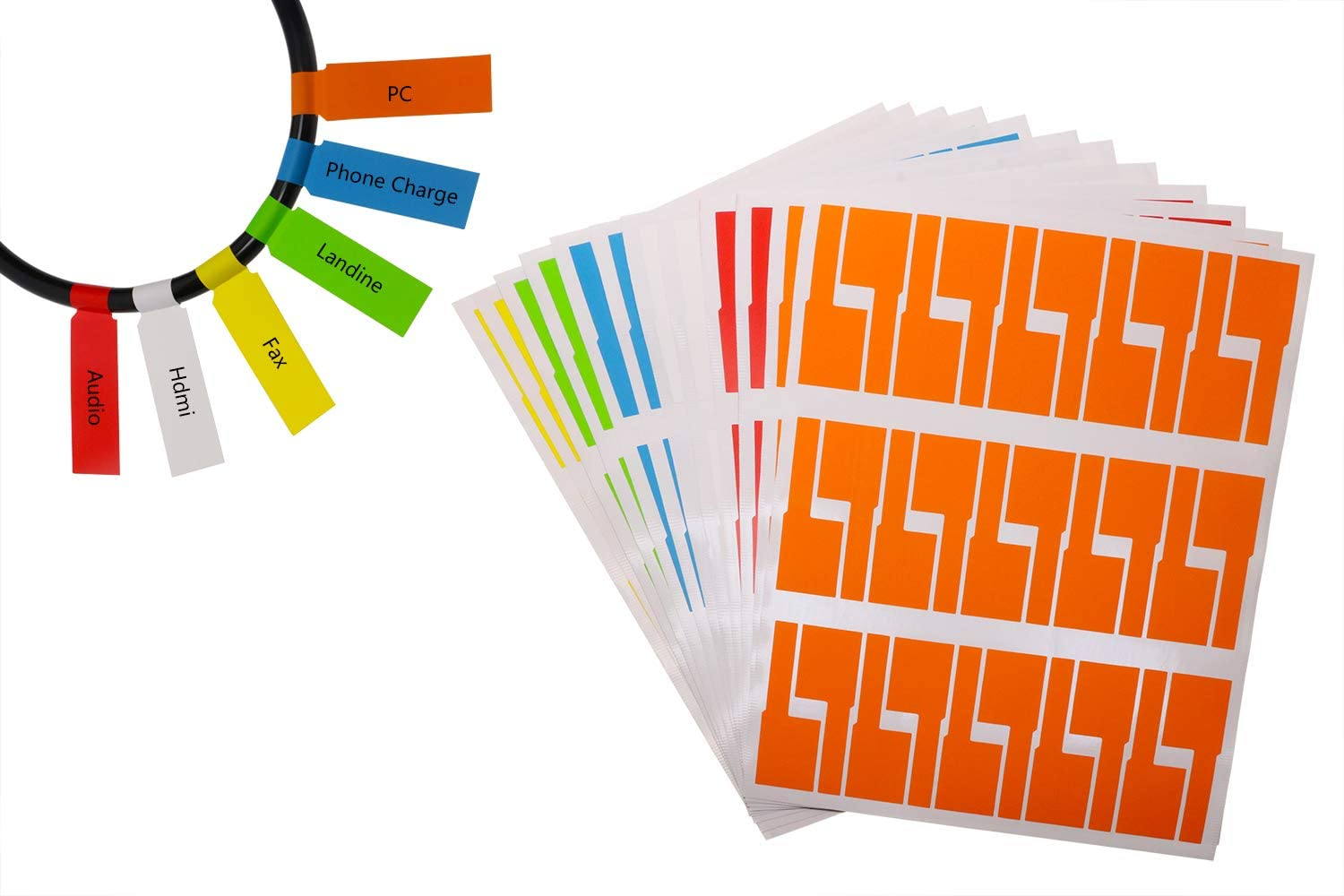 Mini Skater 240 Labels 8 Sheet Colorful Waterproof Cord Labels Tags Write on Stickers Tear Resistant Flexible Works Cord Identification Labels for Laser Printer (8 Sheet (240 Labels))