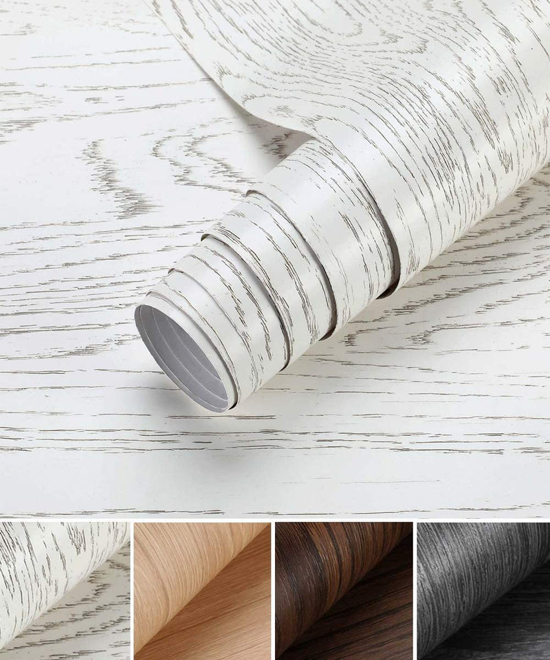 Oxdigi White Wood Grain Contact Paper 24 x 196 inches Decorative for Countertops Cabinets Shelf Liners Doors Self-Adhesive Film Peel & Stick Waterproof Removable Wallpaper