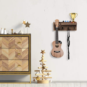 Wood Guitar Rack Wall Mounted, Hanging Bracket Guitar Hanger Shelf with Pick Holder and 3 Hooks, 15 x 4.5 x 5.5 Inch