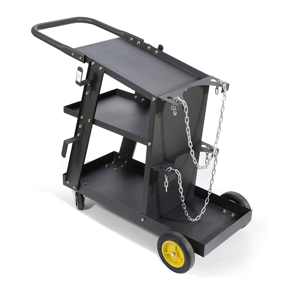 MIG TIG ARC Welder Plasma Cutter Durable Cart with 370 Lbs Weight Capacity 3 Shelves Cable and Gas Bottle Storage