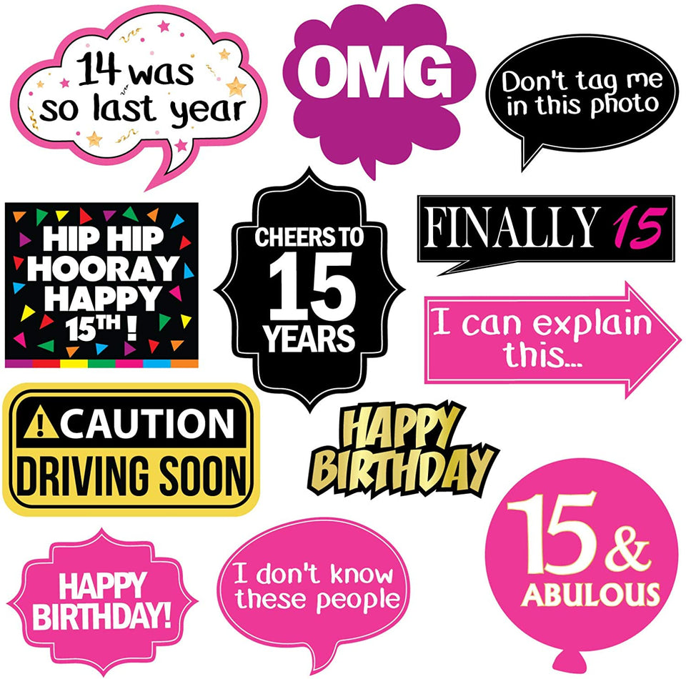 15th Birthday Photo Booth Party Props - 40 Pieces - Funny Kids Birthday Party Supplies, Decorations and Favors