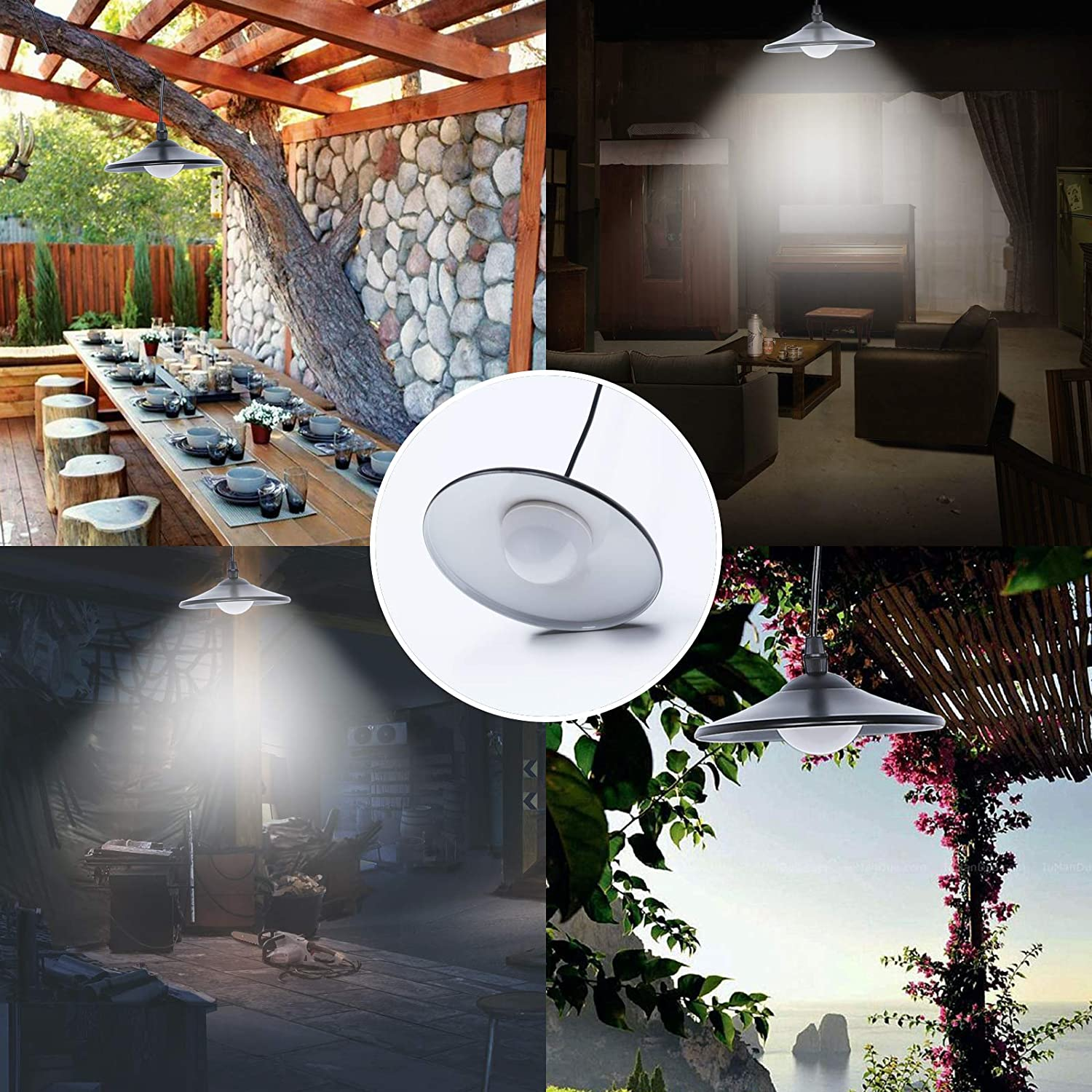 Solar Pendant Light - Indoor Barn Lights Led Shed Lights Waterproof Outdoor Hanging Solar Lamp with Remote Control and Pull Cord for Garden Yard Patio Balcony