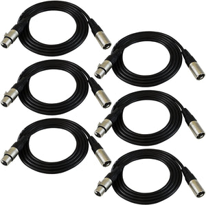GLS Audio 6ft Patch Cable Cords - XLR Male to XLR Female Black Cables - 6' Balanced Snake Cord - 6 Pack