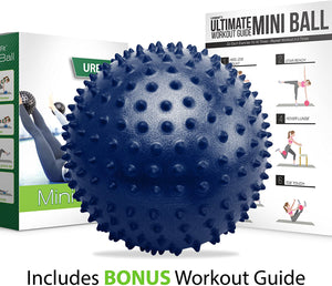 URBNFit Mini Pilates Ball - Small Exercise Ball for Yoga, Pilates, Barre, Physical Therapy, Stretching and Core Fitness - Bender Ball Includes Workout Guide (Blue Massager)