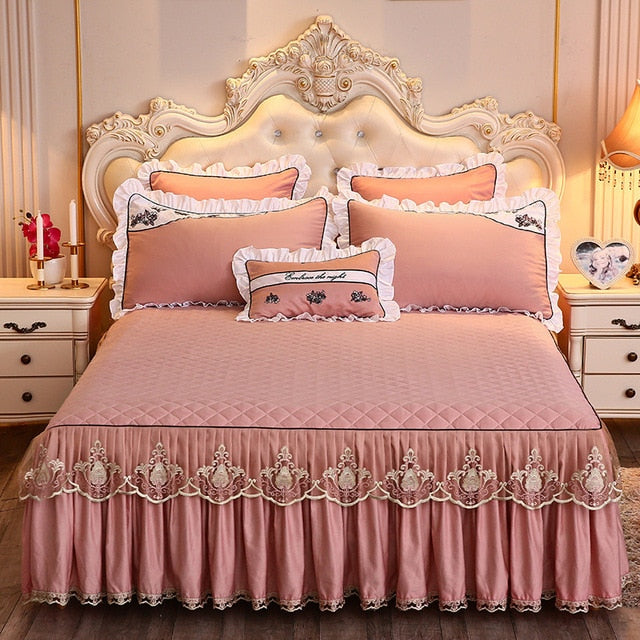 1 Pc Lace Bed Skirt Cotton Thickening Bed Sheets Bedding Bedspreads Pillowcases Bed Sheet for King/Queen Size Bed Sheets Set