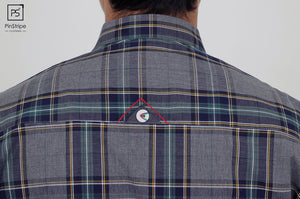 Grilled Smoke & Blue check - 100% cotton