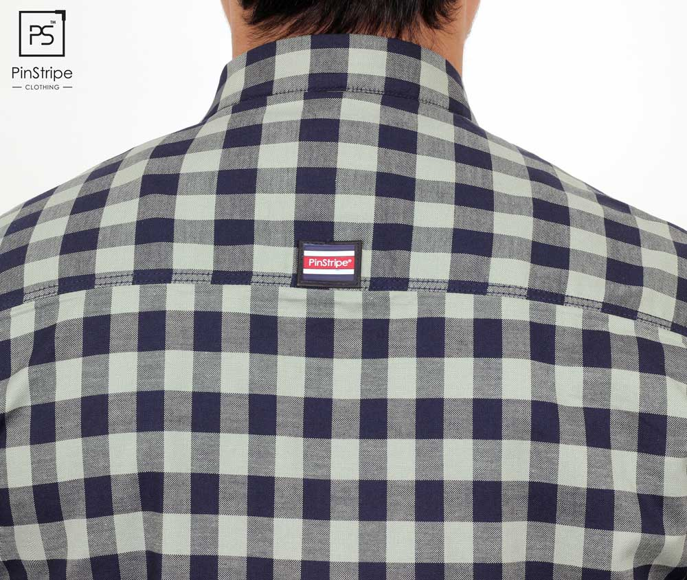 Olive & Navy check - 100% cotton