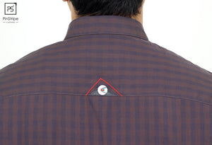 Plum 4 dot check - 100% cotton