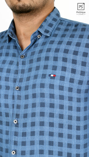 Icing Blue check - 100% cotton