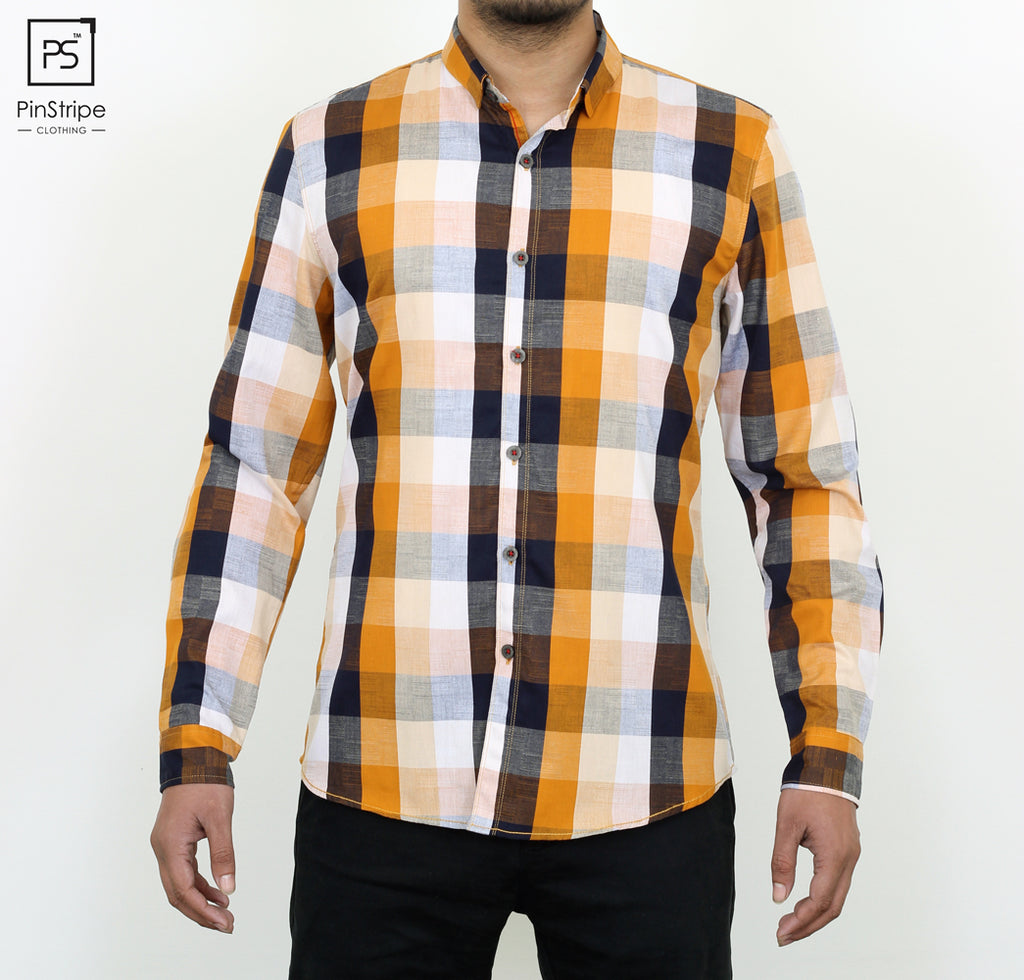Honey & Blue check - 100% cotton