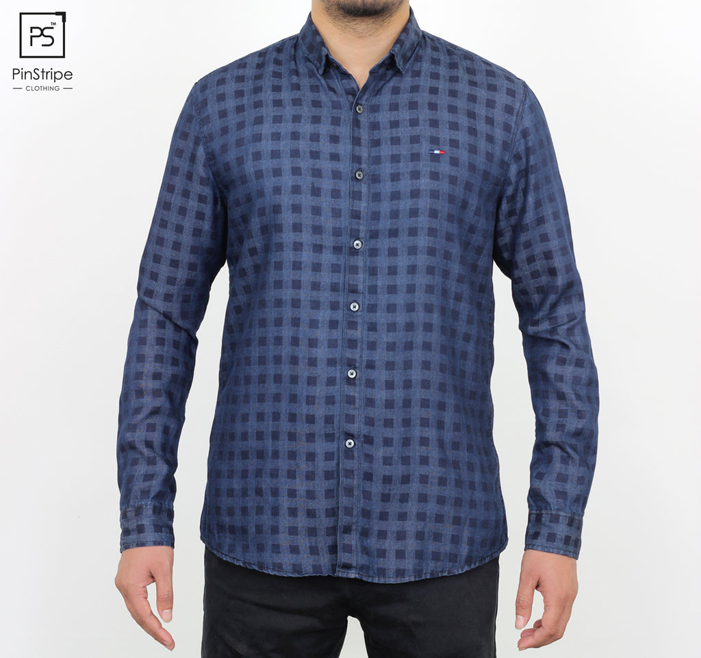 Denim Blue check - 100% cotton