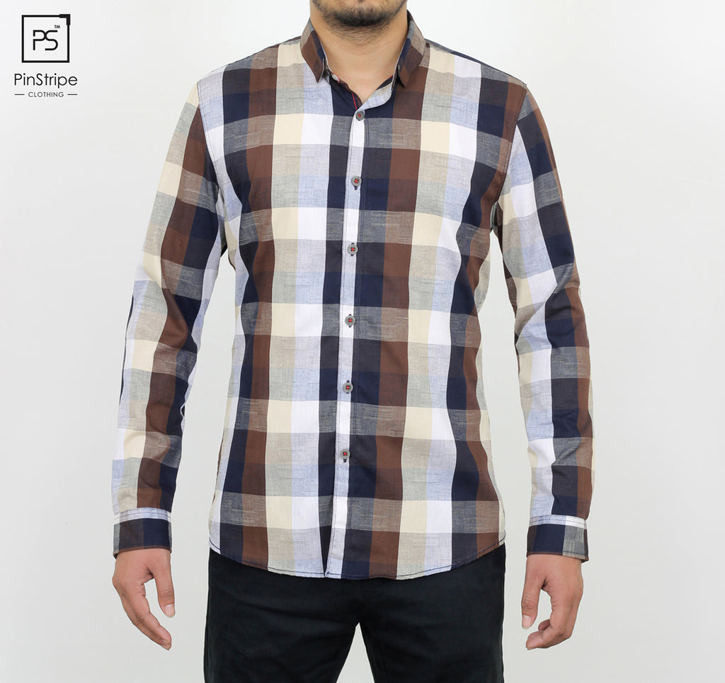 Cofee & Navy check - 100% cotton