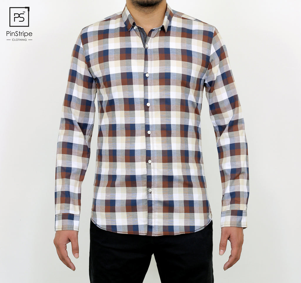 Chocolate and Blue check - 100% cotton