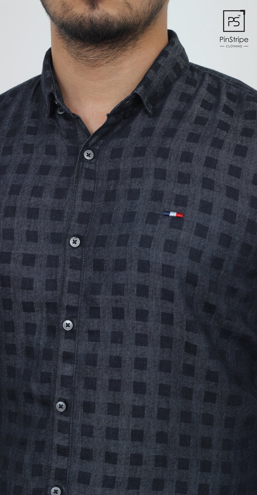 Currant Blue check - 100% cotton