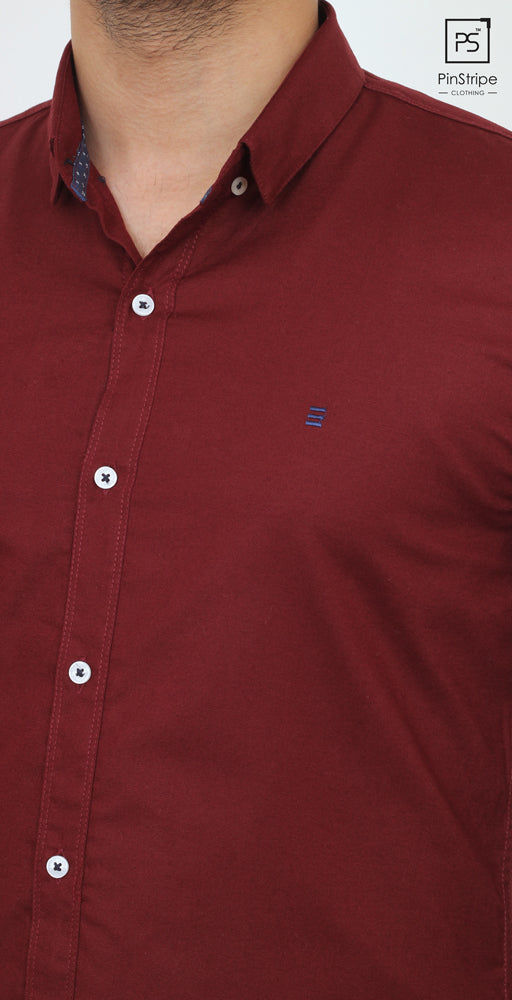 Rosewood Maroon - Oxford Casual Shirt