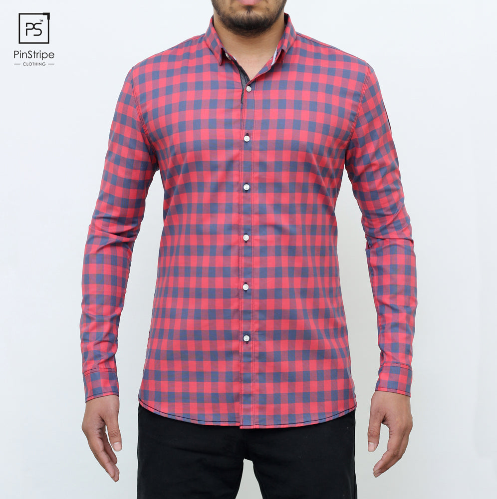 Raspberry & Blue check - 100% cotton