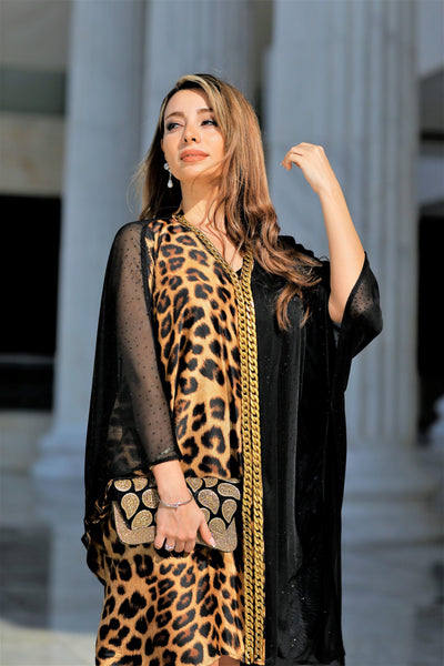 Tunic Dress  black Chiffon / silk Tiger - Malachite.uae