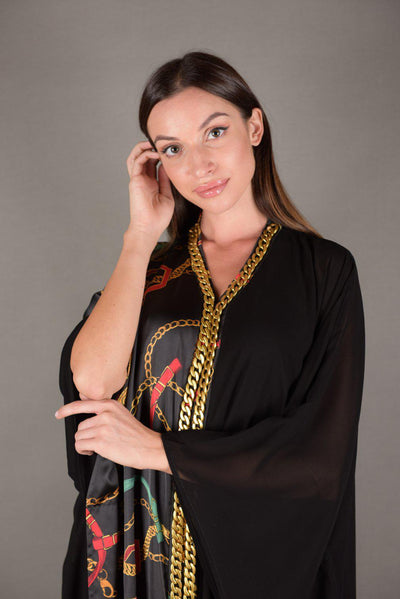 Tunic Dress  black Chiffon / silk GG - Malachite.uae