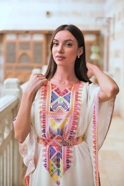 Tunic Dress Chiffon with embroiderywhite