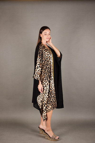 Tunic Dress  black Chiffon / silk Jacquard Tiger - Malachite.uae