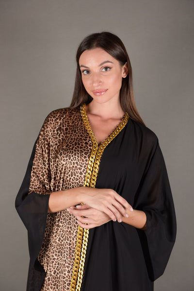 Tunic Dress nero Chiffon / ghepardo di seta - Malachite.uae