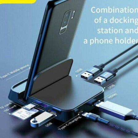 Adaz 7-in-1 Type C HUB Docking Station Phone Stand USB C to HDMI Adapter Kit USB Charger For Type-C Mobile Phones