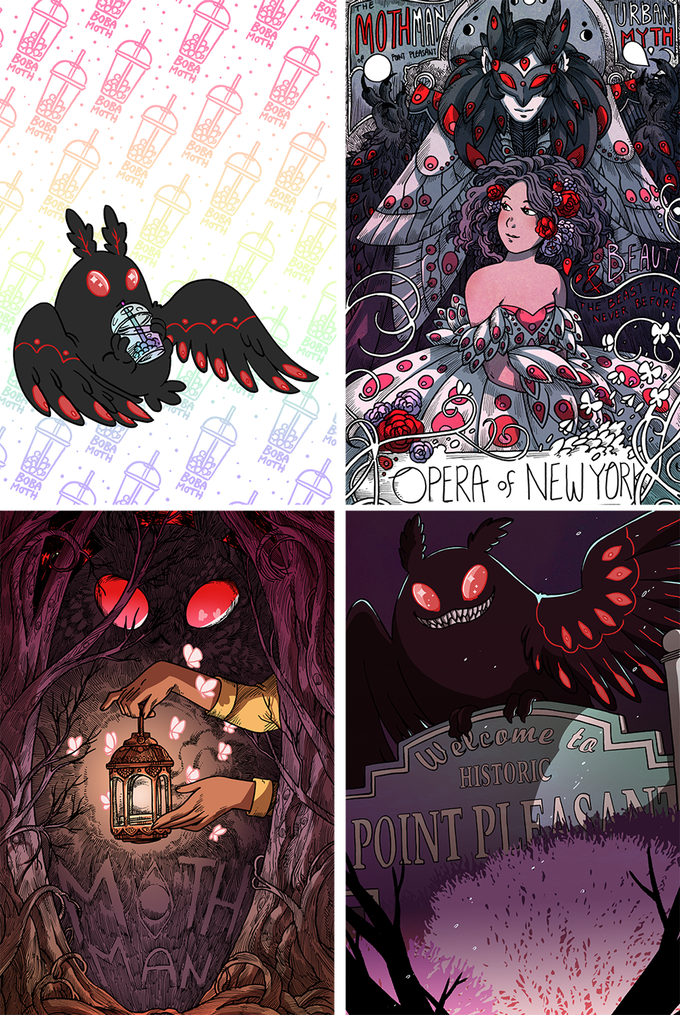 Mothman print and sticker set