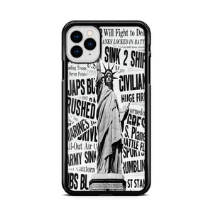 1940s Montage of World War II Headlines Statue of Liberty iPhone 11 HÜLLE Pro Max - fingrei