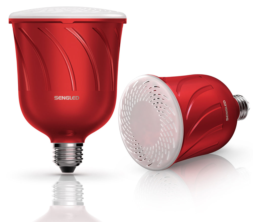 Pulse Dimmable LED Light with Wireless Bluetooth Speakers (Pair), Powered by JBL, Candy Apple