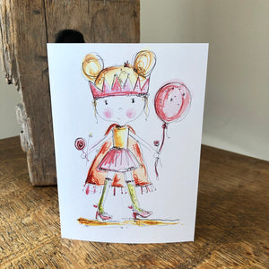 GIRL dressing up and crown card