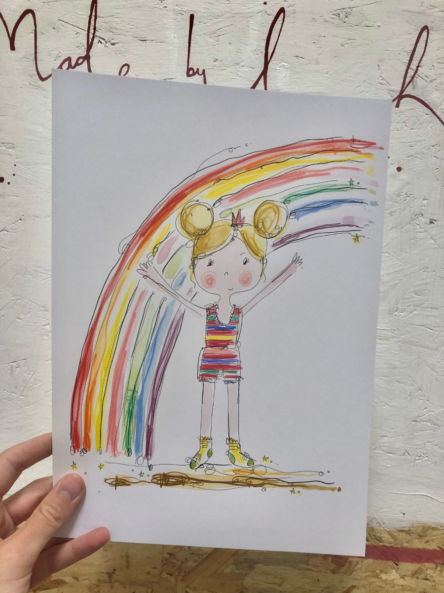 GIRL rainbow art print