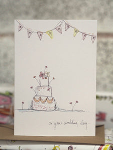 Wedding Cake and Bunting card