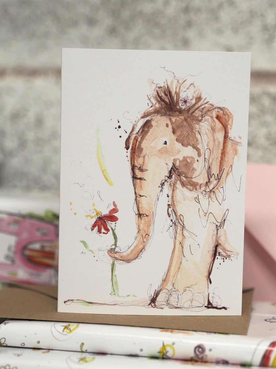 Elephant and flower card