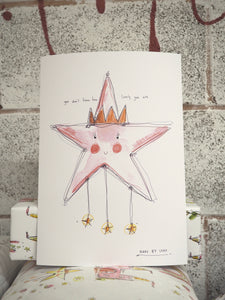 Pink 'lovely' star art print