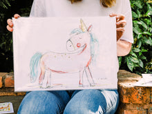 Load image into Gallery viewer, Pink unicorn art print