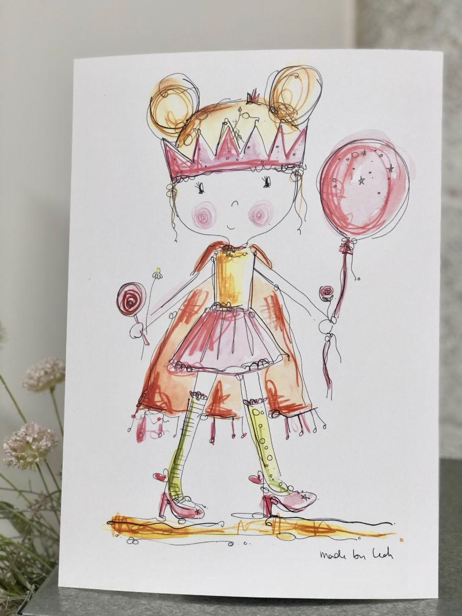 GIRL dressing up with crown art print