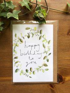 Happy birthday greenery card