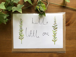 Hello little one greenery card